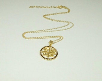 Christian Necklace, Greek Christian Necklace,14k Gold Fill, Birthday Gift,Byzantine Cross Pendant,Coin Charm, Orthodox Gold Coin Necklace