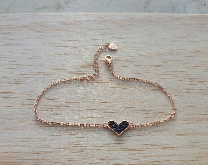 Heart Bracelet - Rose Gold Filled Bracelet - Birthday Gift - Black Cubic Zirconia Bracelet  - Best Gifts for Women
