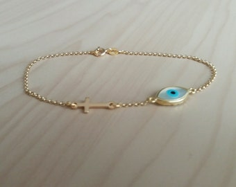 Cross Evil Eye Bracelet Gold, Sideways Cross Bracelet, Gifts for Her, Dainty Evil Eye, Protection Charm, Blue Evil Eye, Baptism Necklace