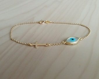 Evil Eye Cross Bracelet, Gold Sideways Cross Bracelet, Gifts for Her, Gold Evil Eye Bracelet, Protection Charm, Baptism Necklace