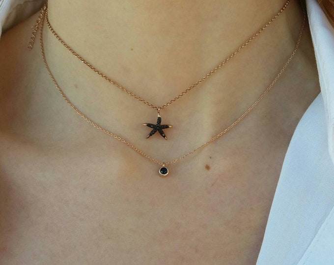 Starfish Necklace, Rose Gold Necklace, Black Cubic Zirconia Necklace, Rose Gold Starfish, Beachwear Jewellery, Everyday Necklace, Chic