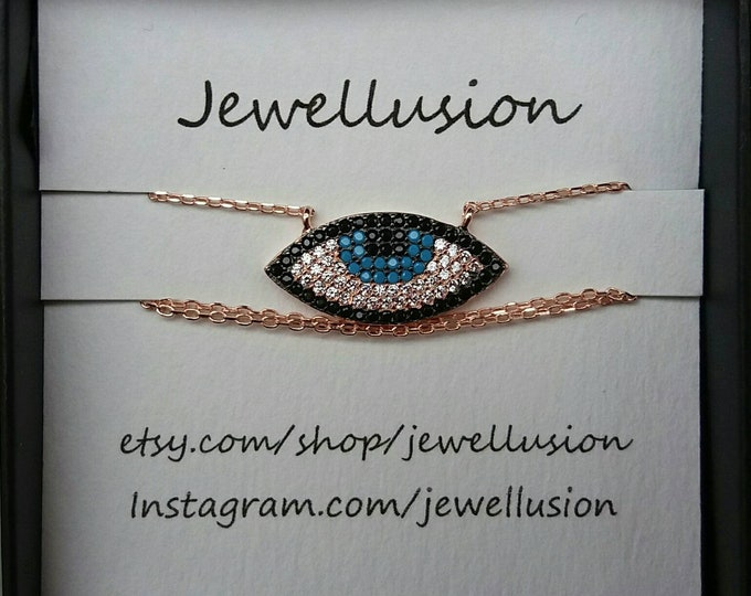 Rose Gold Evil Eye Necklace, Cubic Zirconia, Dainty Evil Eye Necklace, Protection Charm, Blue Evil Eye, Made in Greece