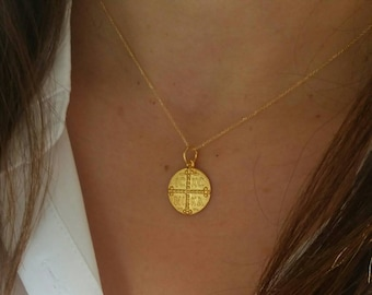 Solid Gold Constantine Coin Necklace, Solid Gold Christian Necklace, Constantinato 14k Gold Necklace, Byzantine Cross Necklace,ICXN Necklace