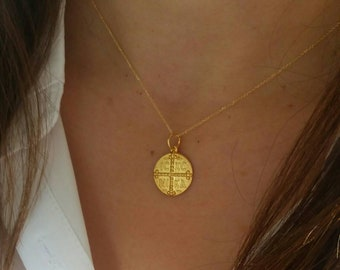 Solid Gold Constantine Coin Necklace, Solid Gold Christian Necklace, Gift For Her, Byzantine Cross Necklace, 14k Gold Necklace,ICXN Necklace