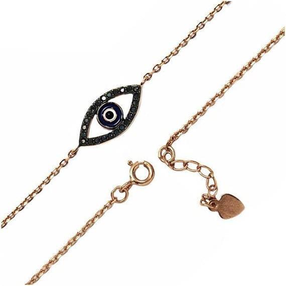 Evil eye bracelet rose gold, zircon bracelet, oval evil eye, dainty evil eye bracelet, protection charm, black cubic zirconia
