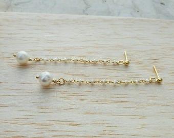 Pearl Rosary Earrings, 14k Gold Fill Earrings, Chic Pearl Drop Earrings, Anniversary Gift, Wedding Earrings, Bridal Jewellery, Chic Bijou