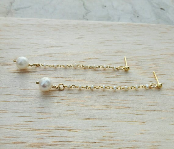 Pearl earrings, 14k gold filled earrings, freshwater AAA pearl earrings, drop earrings, anniversary gift, wedding earrings, bridal set