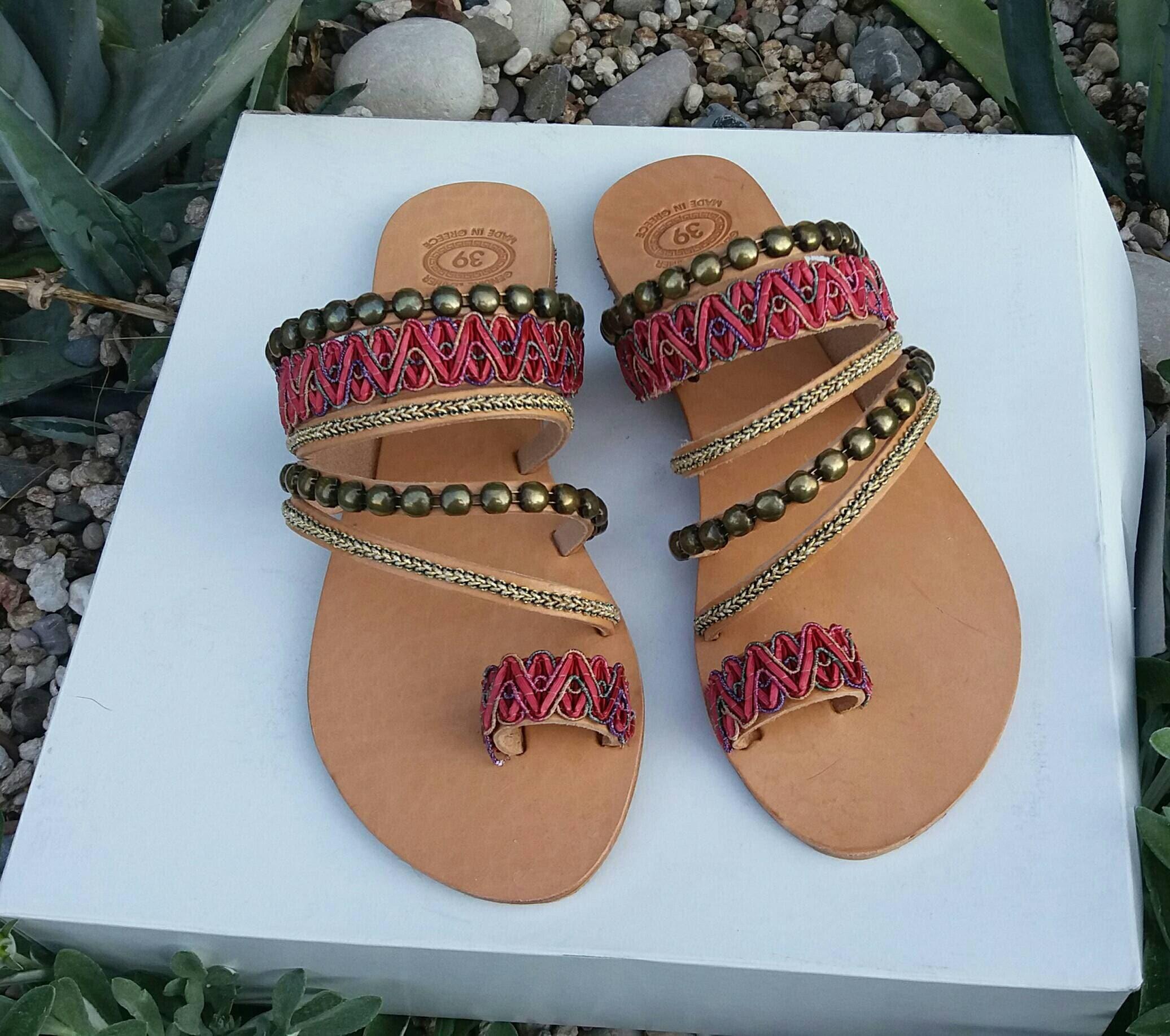 bc1f33dc8 Boho Chic Sandals, Handmade Sandals for Women, Flat Shoes, Slide Toe Sandals,  Decorated Sandals, Leather Sandals, Greek Sandals