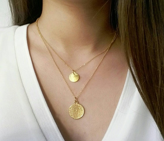 Phaistos Disc Necklace, Ancient Greek Necklace, Gold Layered Necklace, 14k Gold Filled Necklace, Birthday Gift