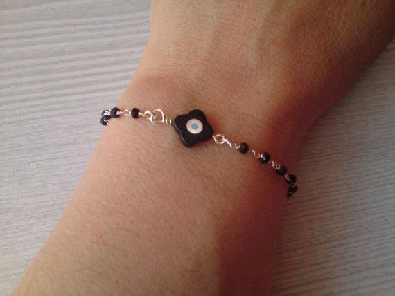 Evil eye bracelet, silver rosary bracelet, four leaf clover, protection bracelet, good luck, bridesmaid jewelry