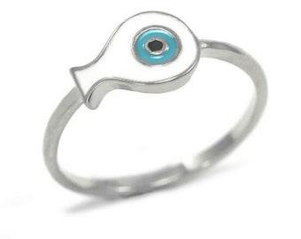 Evil Eye Ring, Light Blue Silver Ring, Fish Ring with Eye, Protection Ring, Dainty Ring,  Fish Charm Ring,Evil Eye Fish Ring