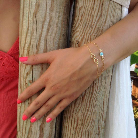 Evil eye bracelet,infinity bracelet,layered bracelet,bestfriend gift,gold filled bracelet,protection bracelet,first communion gift