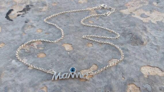 Mama necklace, layered necklace, mommy necklace, evil eye necklace, statement necklace, sterling silver, pendant necklace