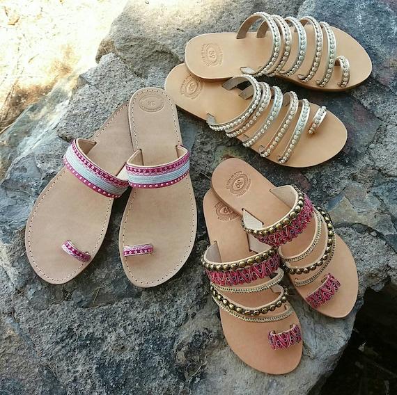 Summer Sandals Chic Hippie Slip Sandals Sandals Sandals Sandals Sandals Sandals On Leather Genuine Greek Wedding Sandals Boho 7wxqZ5