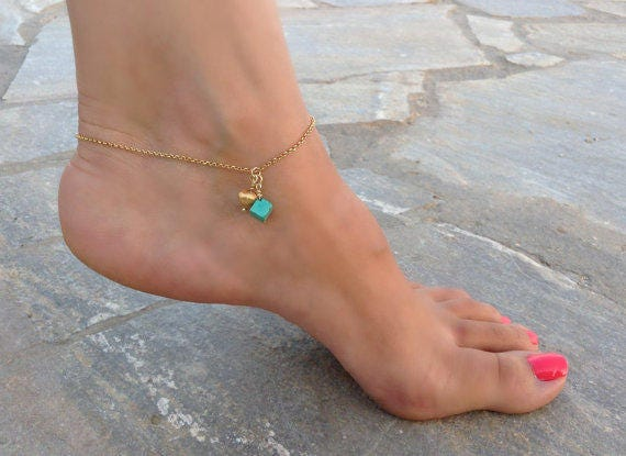 Turquoise Anklet / 14k Gold Filled Ankle Bracelet / Gold Heart Anklet / Dainty Beach Jewelry / Bridal Shower