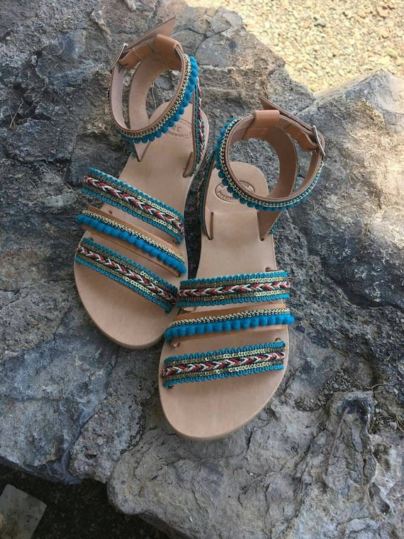 Gladiator Greek Sandals Sandals Sandals Genuine Sandals Handmade Sandals Leather Sandals Summer Boho Sandals Embellished Green Boho wx17qH