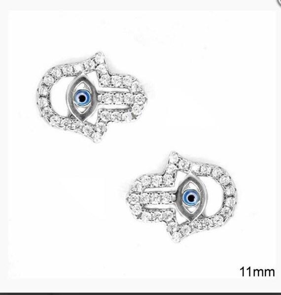 Evil eye earrings, Cubic Zirconia stud earrings, hamsa hand earrings, dainty earrings, anniversary gift, graduation gift, birthday gift