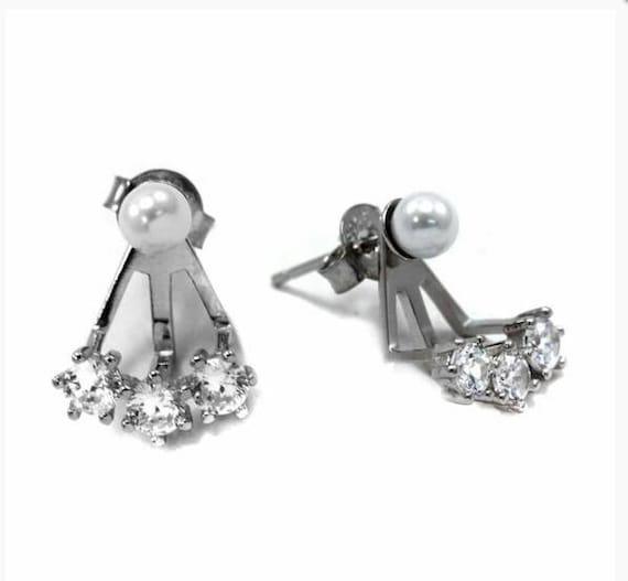 Cubic Zirconia ear cuffs, solitaire diamond earrings, dainty earrings, anniversary gift, wedding earrings, bridal set, pearl earrings