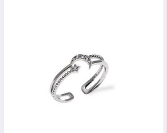 Crescent Moon Ring, Adjustable Ring, Cubic Zirconia, Everyday Ring, Dainty Ring, Birthday Gift, Anniversary Ring, Adjustable Ring
