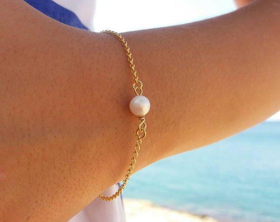 Pearl Bracelet • Gold Filled Bracelet • Freshwater Pearl Bracelet • Bridesmaid Gift, Layered Bracelet • Fine Freshwater Pearl • Gift For Her