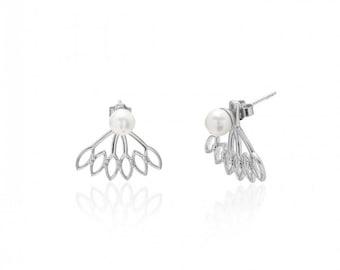 Ear Jacket with pearls, 925 Sterling Silver EarJackets, AAAFreshwater Pearl Earrings, Chic Bijoux,