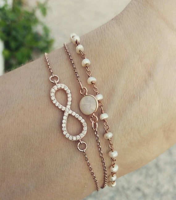 Infinity Bracelet - Rose Gold layered bracelets - Bridal Jewelry - Bridmaid gift - Pearl Rosary - Moonastone
