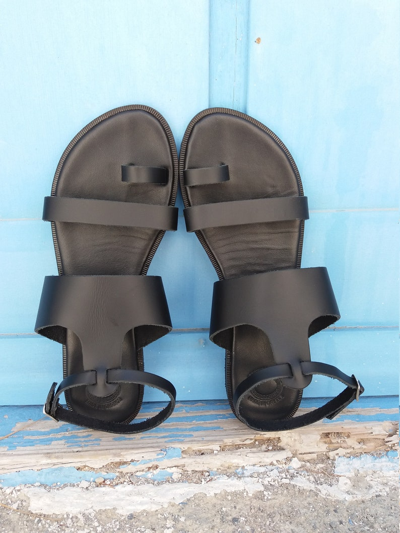 Handmade in Greece Black Sandals Strappy Sandals T-Strap Leather Sandals Free Express Shipping Greek Leather Sandals Genuine Leather
