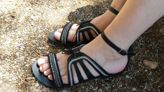Genuine Greek Sandals, Black Leather Sandals, Ancient Greek Sandals,Beach Shoes,Boho  Sandals,Greek Leather Handmade Sandals,Summer Sandals