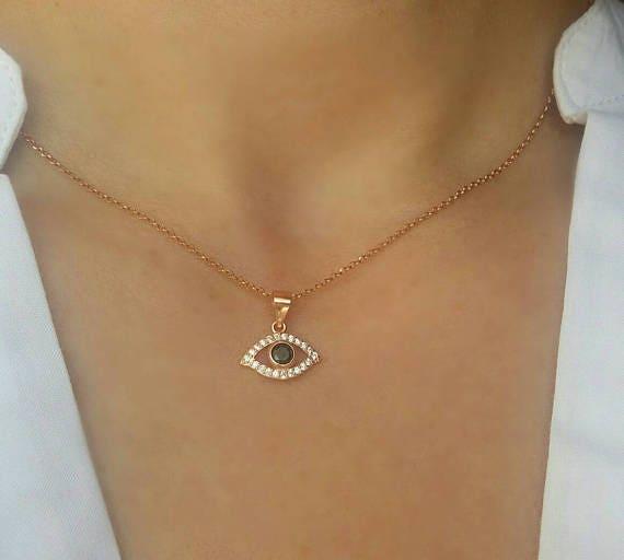 Rose gold evil eye necklace, zircon necklace, evil eye charm, dainty evil eye necklace, protection charm, blue evil eye, rose gold necklace
