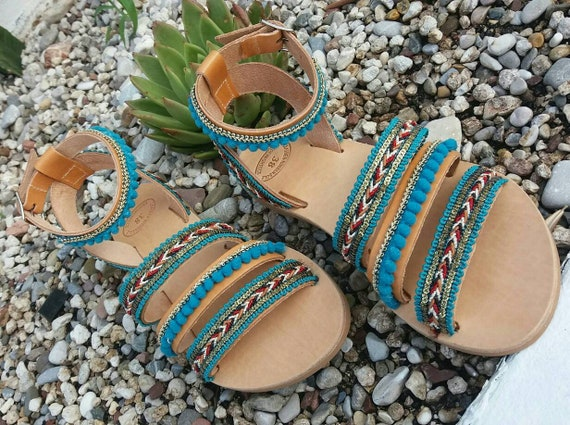 Boho Sandals, Genuine Leather Sandals, Boho Green Sandals, Embellished Sandals, Handmade Greek Sandals, Gladiator Sandals, Summer Sandals
