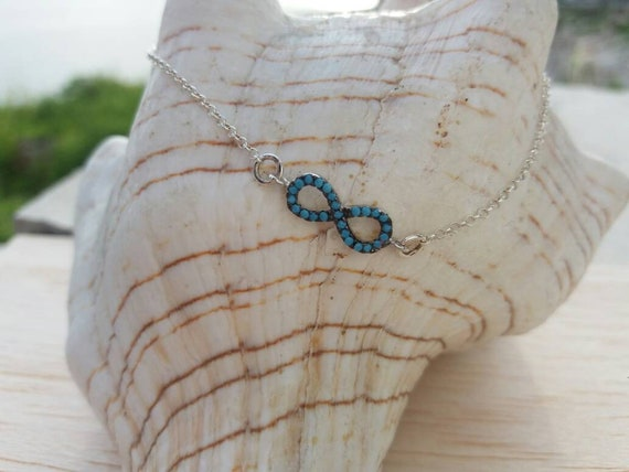 Infinity Bracelet, Silver Infinity Bracelet, Turquoise Charm, Cubic Zirconia, Protection charm, Best Friend Gift