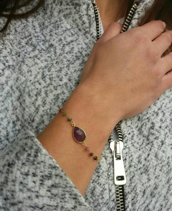 Amethyst bracelet, 14k gold filled tourmaline bracelet, rosary bracelet, beaded bracelet, everyday jewelry, summer bracelet, gemstones