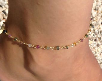 Tourmaline Rosary Anklet