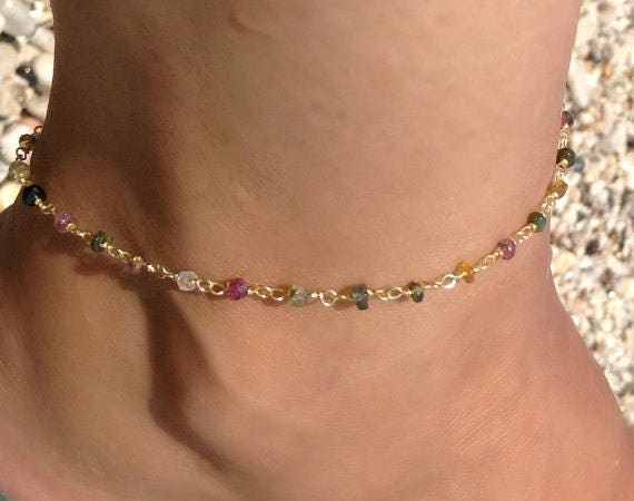 Rosary anklet / gold anklet / tourmaline / beaded anklet / foot jewelry / summer beach jewelry / wedding anklet / gemstones / gifts for her