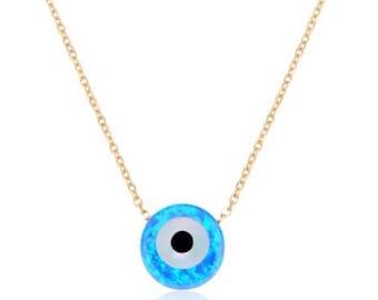 Blue Opal Evil Eye Necklace in 14K Solid Gold, October Birthstone, Round Blue Evil Eye,  Protection Necklace, Solid Gold Opal Necklace