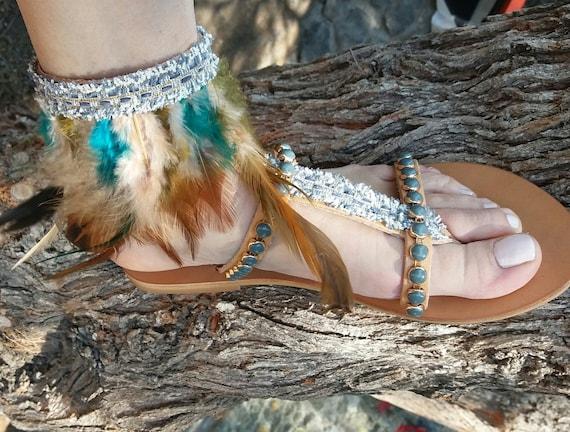 en grec sandales sandales cuir sandales grec Plume cuir en de Hippie EaPwqfT