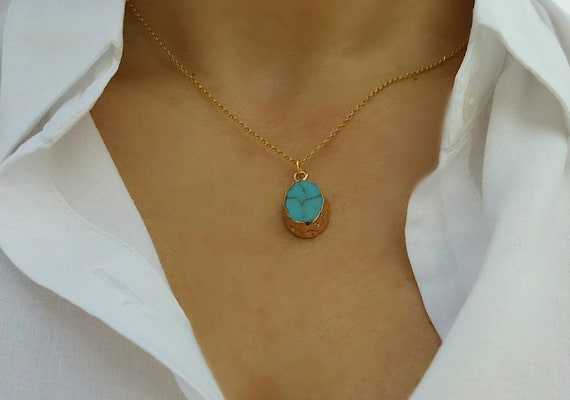 Dainty Turquoise Necklace, Gold Filled Necklace, Dainty Turquoise Necklace, Howlite, Teal Necklace, Bridesmaid Gold Neckalce