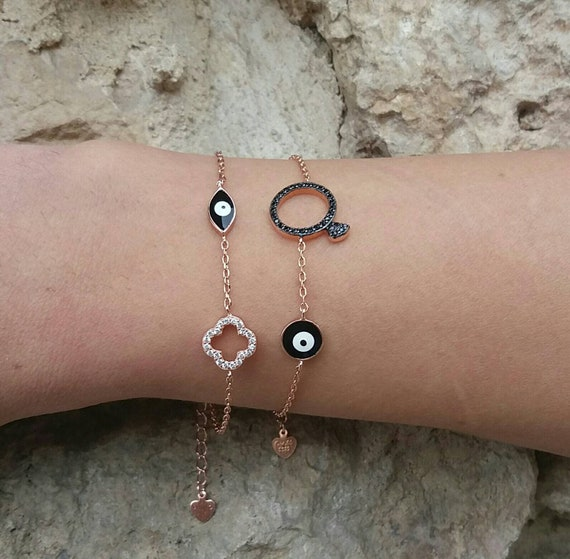 Solitaire ring bracelet,evil eye bracelet,rose gold filled bracelet,bridsmaid bracelet,evil eye charm,santorini bracelet,santorini jewelry