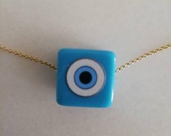 Evil Eye Cube Necklace, Blue Cube Bead Necklace,  Cube Turquoise Necklace, Blue Bead Necklace with Evil Eye, 3D Cube Necklace