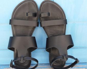 Slingback T-Strap Black Leather Sandals