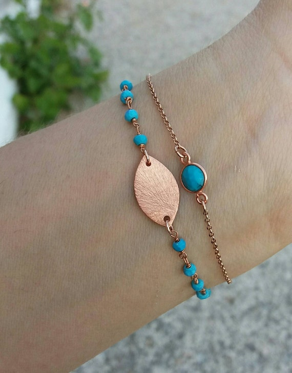 Turquoise Bracelet - Rose Gold Rosary - Summer Jewelry - Best Friend Gift - Turquoise trend - Leaf  Bracelet