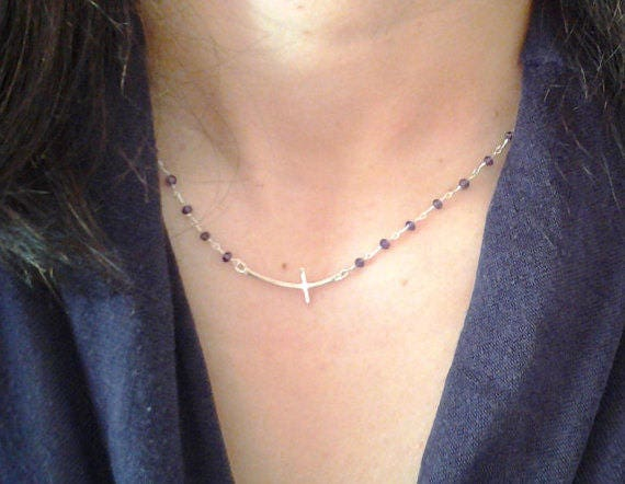 Sideways Cross Rosary necklace, amethyst necklace, amethyst rosary, 925 sterling silver,bridal jewelry,bridesmaid gift