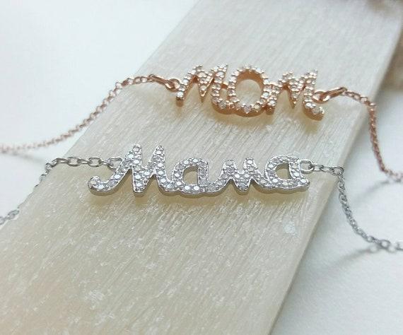 Mama bracelet, New Mommy gift, silver bracelet, Mother's day gift, Cubic zirconia bracelet, Initial bracelet.