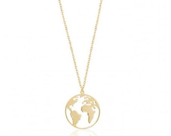 Earth Necklace, Dainty 14k Gold Filled or Solid Silver Necklace, Earth Pendant Protection Charm, Chic Collier
