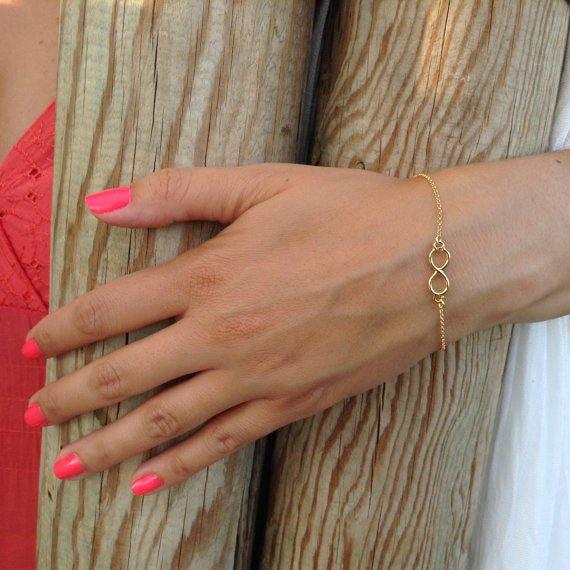 Dainty bracelet, infinity bracelet, gold bracelet, gold filled bracelet, protection jewelry, bridesmaid gift, dainty bracelet