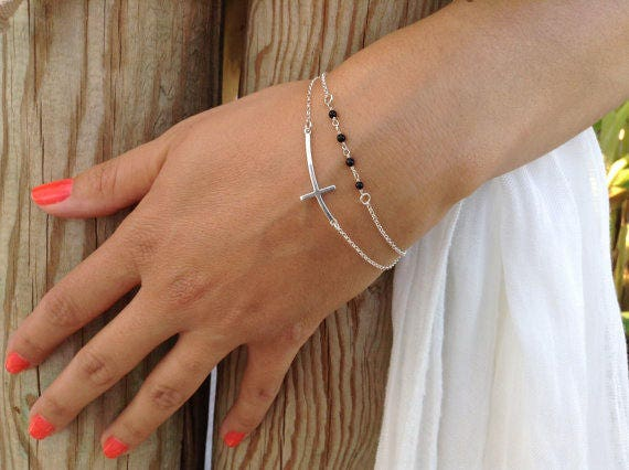 Sideways cross bracelet, beaded bracelet, layered cross bracelet, bridesmaid gift,925 sterling silver, onyx bracelet