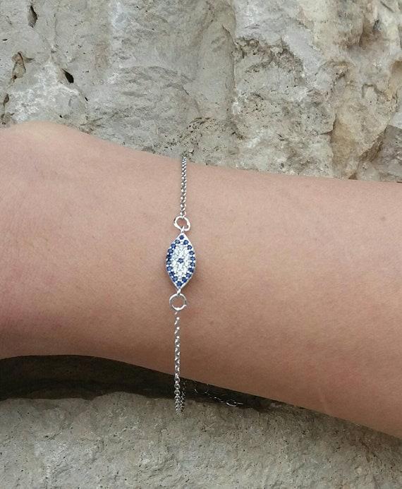 Silver evil eye bracelet, Cubic zirconia bracelet, oval evil eye, dainty evil eye bracelet, protection charm, blue evil eye gold