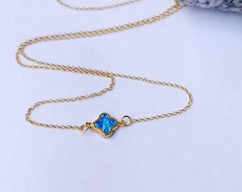 Opal Necklace 14k Gold Filled, October Birthstone, Four Leaf Clover Opal Necklace, Blue Opal Clover Necklace,  Blue Opal Necklace