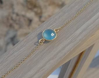 Light Blue Bracelet ,Gold Filled Bracelet, Bridesmaid Gift, Blue Gemstone Bracelet,  Laywring Bracelet,Glass Stone Jewelry, Round Bracelet
