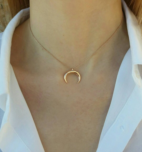 Crescent moon necklace, rose gold filled necklace, moon necklace, gifts for her, dainty moon necklace